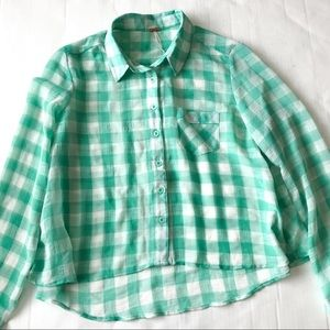 Free People hi-lo cropped plaid button down